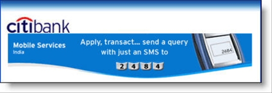 Citibank India SMS banking banner