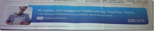 Citibank banner ad on bottom of first page of WSJ