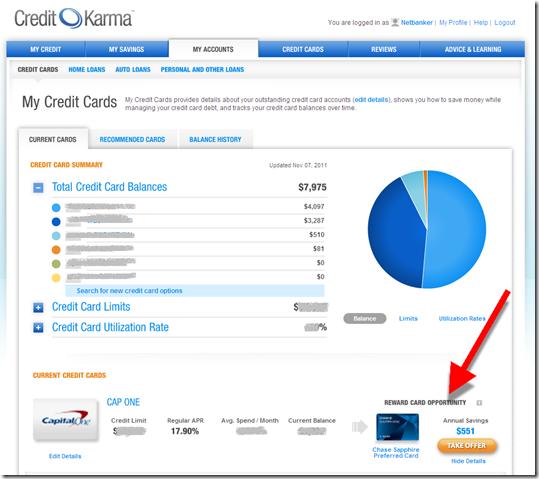 """Credit Karma """"My Accounts"""""""