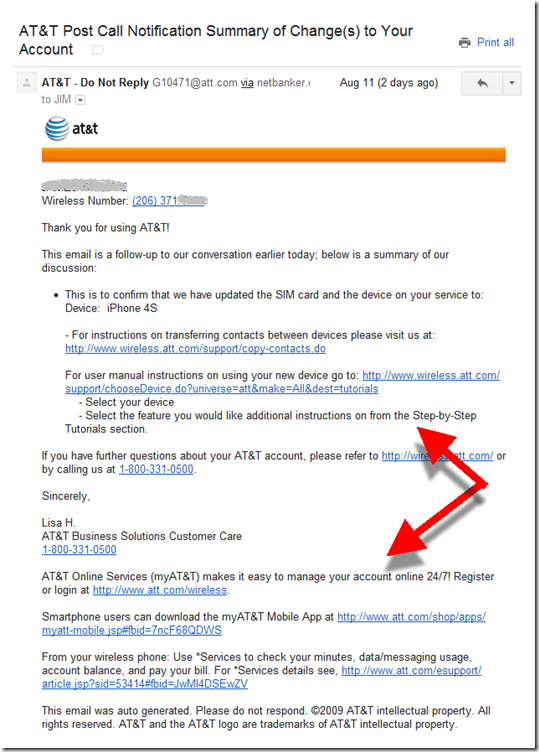 AT&T call center confirmation email
