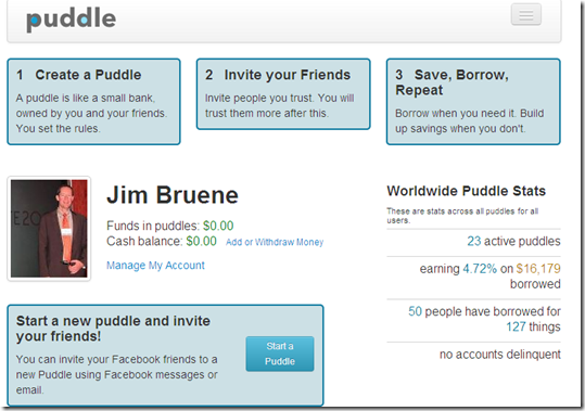 "Puddle new user ""get started"" screen"
