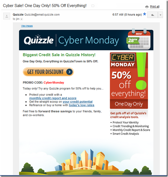 Cyber Monday email from Quizzle