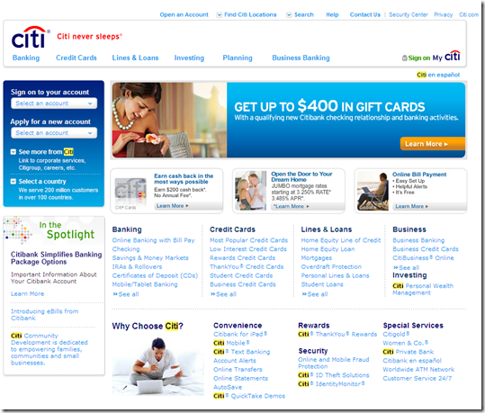 Previous Citi.com as of 30 Sep 2011