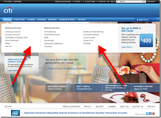 Net Citibank homepage with Banking menu displayed
