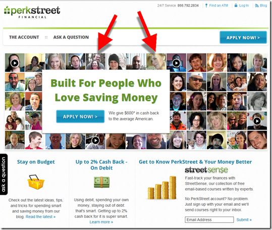 "Perkstreet landing page with ""face montage"""