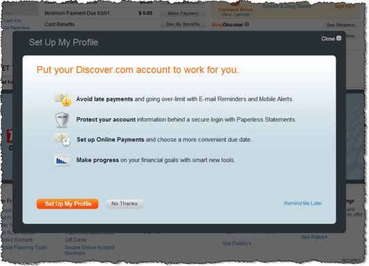 Discover Card prompts to complete profile