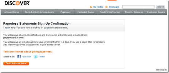 Discover Card confirmation after signing up for paperless statements