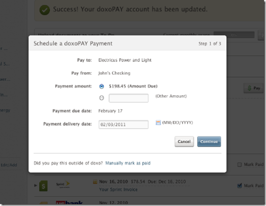 Doxo's Popup payment scheduling screen