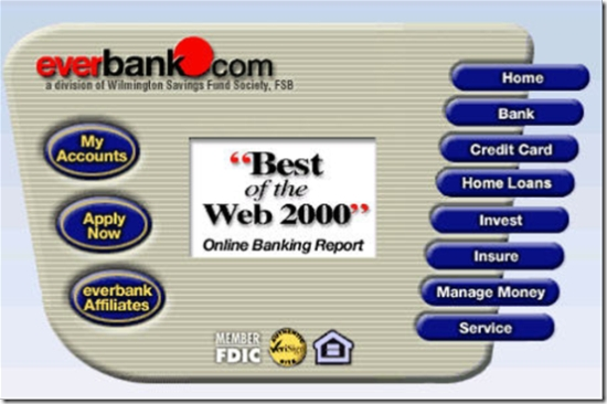 Old Everbank homepage April 2001