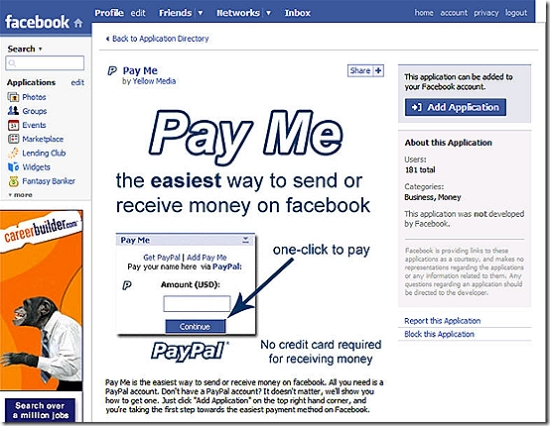 Pay Me on Facebook using PayPal