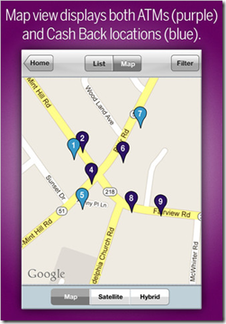 Mobile map from Ally shows ATM and cash-back POS locations