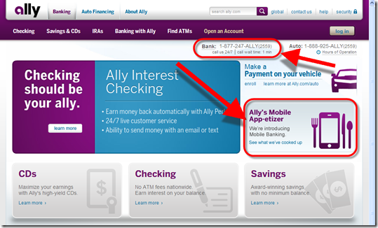 Ally Bank homepage announces new mobile apps