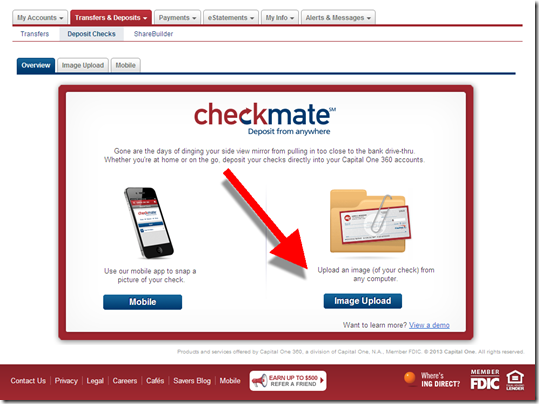 Capital One 360 checkmate remote depost landing page