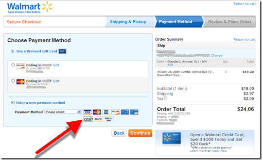 "Walmart online cart with ""cash"" payment option"
