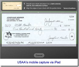 USAA ipad app offers mobile check deposit