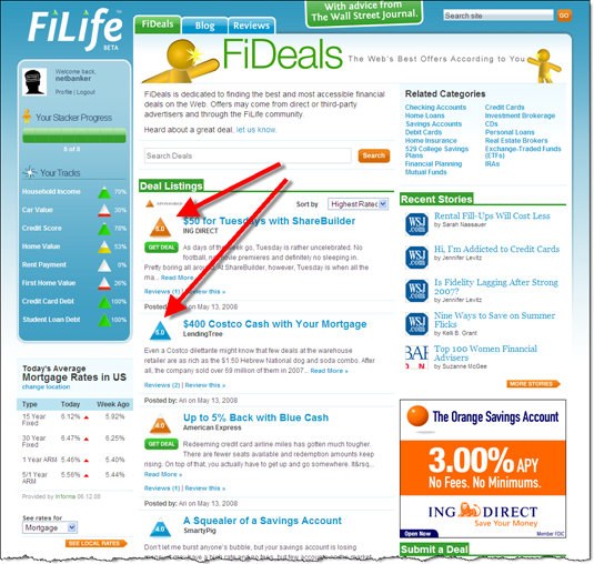 FiLife FiDeals main page with sponsored vs non-sponsored deals  11 June 2008