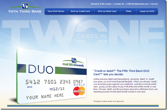 Fifth Third landing page for its combo DUO card