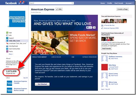 Step 1: Visit American Express Facebook page