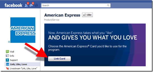 Step 3: Link American Express card to Facebook