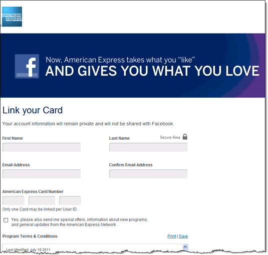 Step 3a: Complete form on AmEx webpage