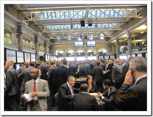 FinovateEurope networking hall was wall-to-wall bankers at mid-day