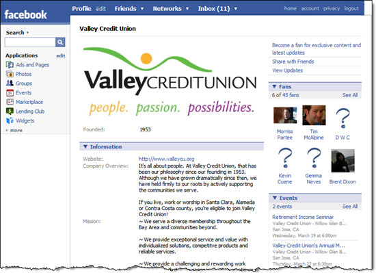 Valley Credit Union Facebook page