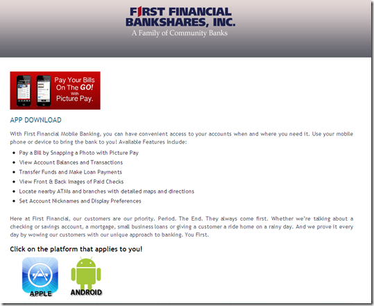 First Financial Bank landing page for photo billpay
