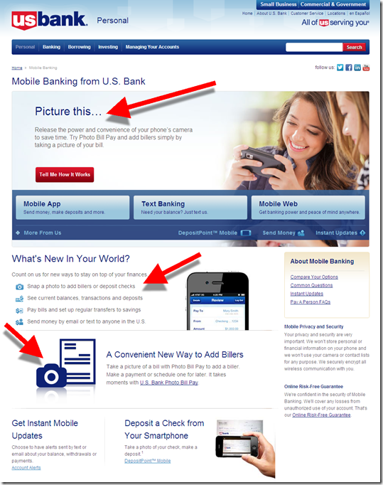 US Bank mobile banking page featuring photo bill pay