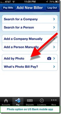 US Bank mobile photo billpay