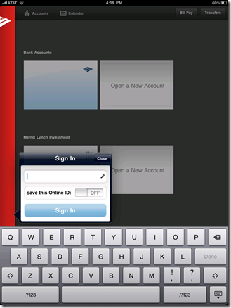 Bank of America iPad app login screen