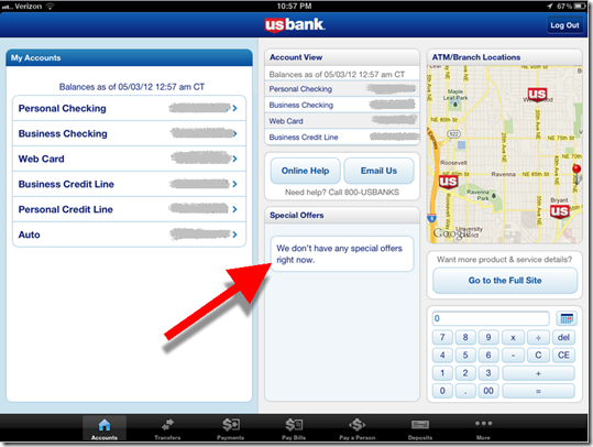 "U.S. Bank iPad main ""Accounts"" page in landscape mode"