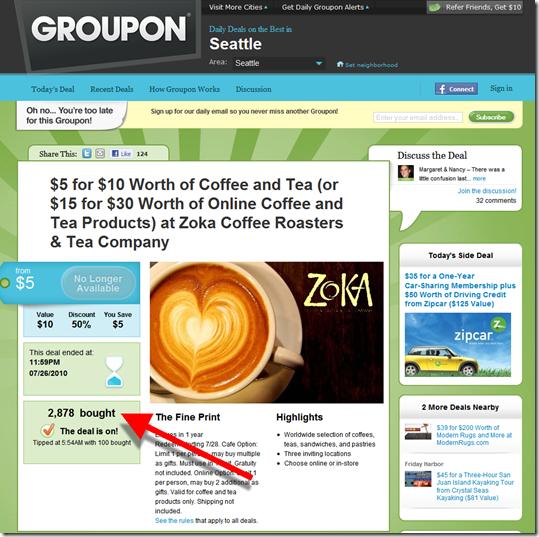 Groupon zoka coffee offer