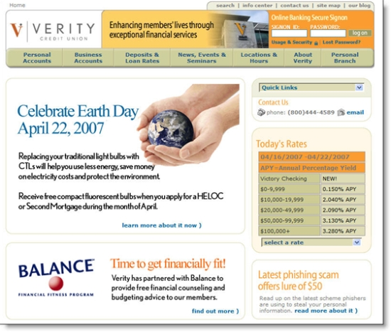 Verity Credit Union homepage