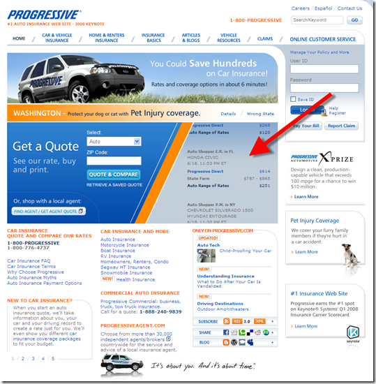 Progressive Insurance quote feed on homepage 18 June 2008