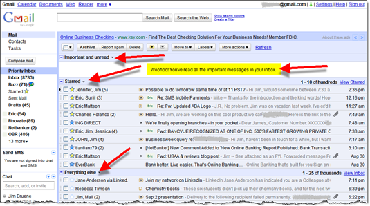 Gmail priority inbox is a good model for online banking and credit card statements