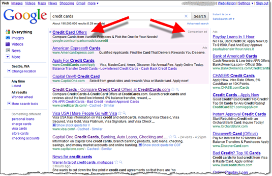 "Google search for ""credit cards"" brings up comparison ad"