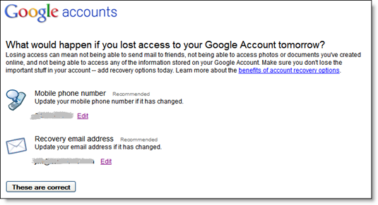 Google interstitial page displayed after logging in to Gmail (7 March 2011)