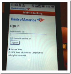 Bank of America Google Android App online banking signin (22 Oct 2008)