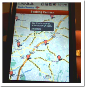 Bank of America Google Android G! App bank branch map (22 Oct 2008)