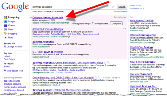 "Google search for ""savings accounts"" showing new product comparison ad"