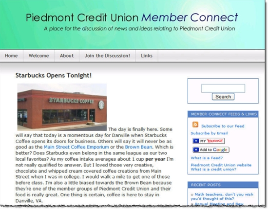 Piedmont CU blog posting