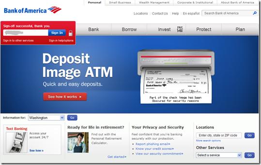 Bank of America homepage (21 April 2011, Seattle IP address, customer cookies)