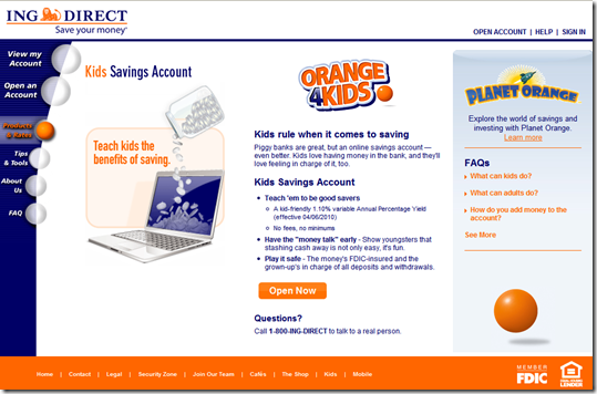 ING Direct Landing page for more info on Kids Savings Accounts