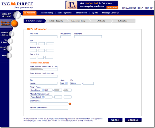 ING Direct Kids account application, for adding to an existing adult account