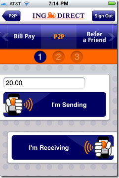 Bump is now one of two choice on the P2P menu on ING Direct's iPhone app (2 May 2011)