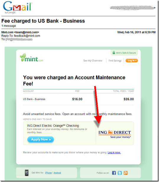 Mint.com email alert that a fee was charged to my U.S. Bank business checking account