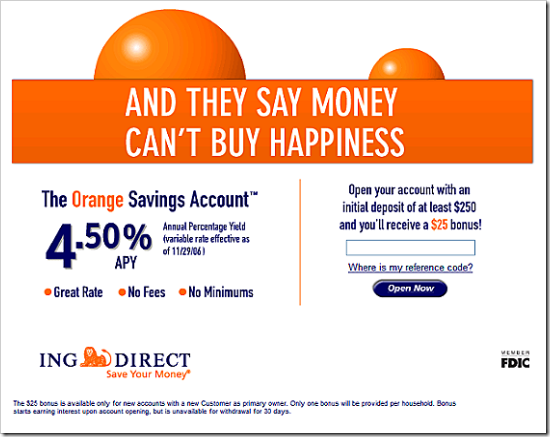ING Direct Seattle landing page