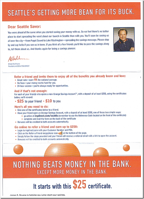 ING Direct Seattle mailer back