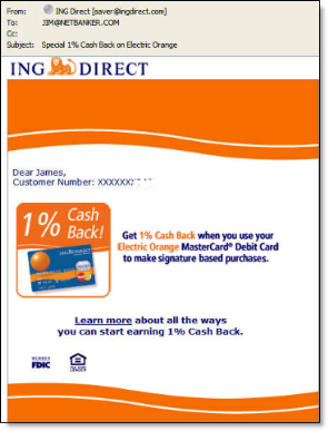 Email from ING Direct announcing cashback bonus