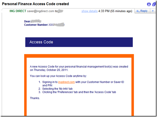 ING Direct access code confirmation email